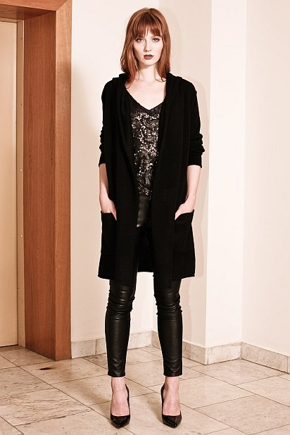 Black cashmere hooded cardigan EDITH