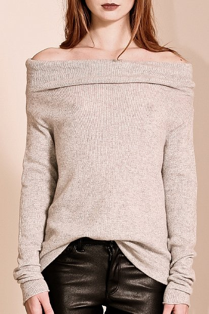 Grey cashmere slouchy sweater AGNES
