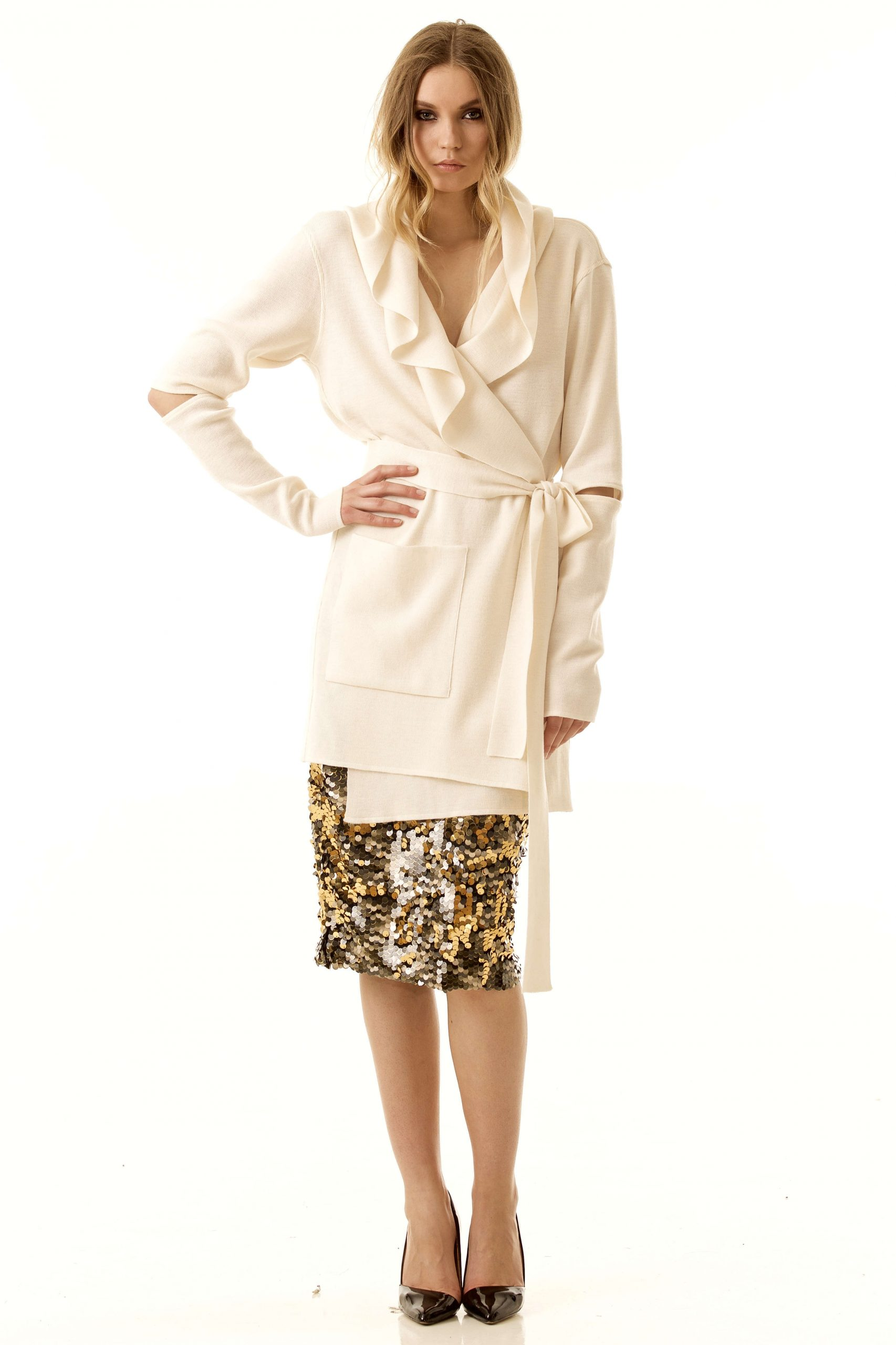 White wrap hooded cardigan EMILIE W