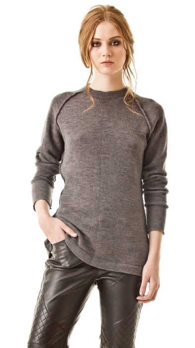 Grey cashmere sweater with raglan sleeves EVE