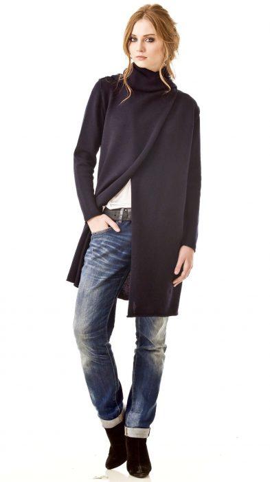 Black open front cardigan ODETTE