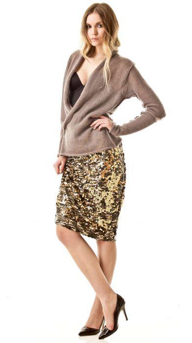 Cross front cardigan JULIETTE | Color: beige