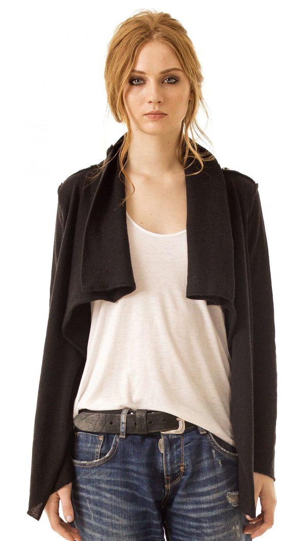 Black alpaca cowl collar womens cardigan damen strickjacke MELISSA