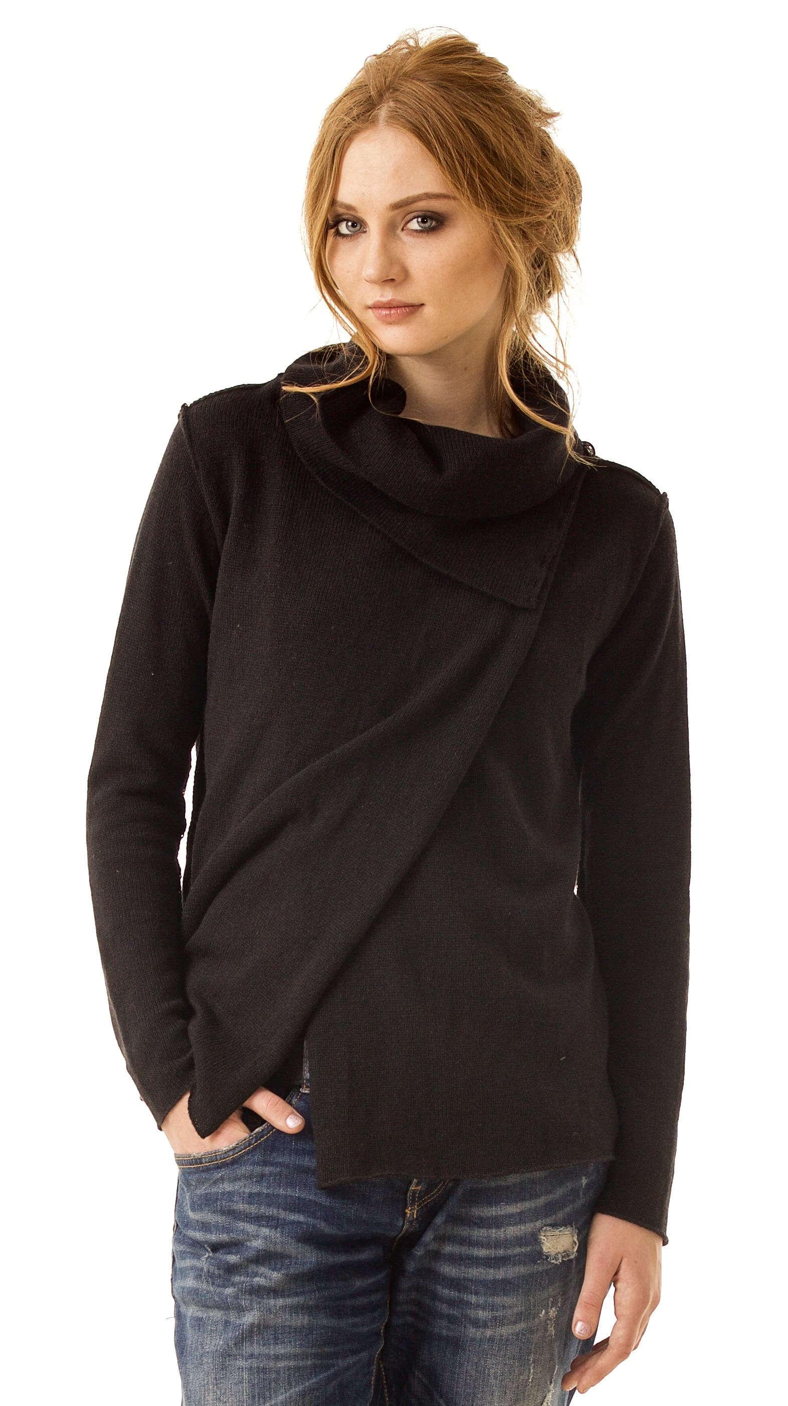 1fe0688271 Black alpaca cowl collar womens cardigan damen strickjacke MELISSA