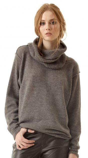 Grey alpaca wool womens sweater pullover ISABELLE