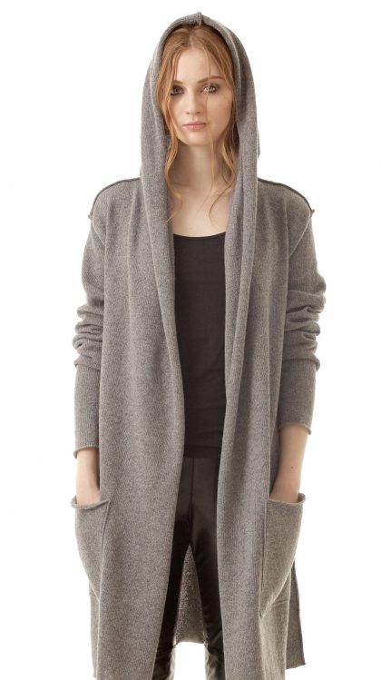 Grey cashmere womens hood wrap open front cardigan