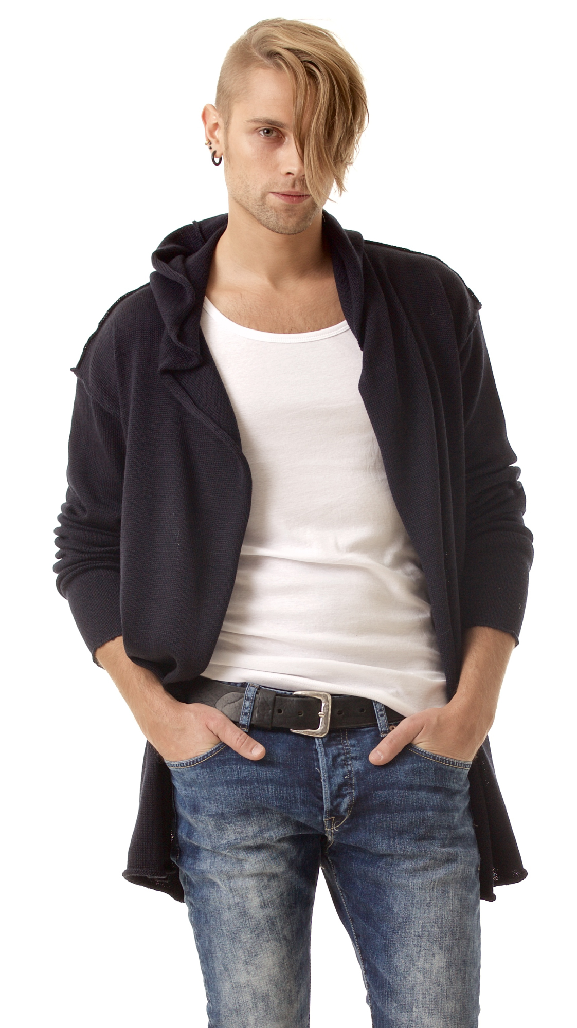Wrap mens open front cardigan hoodie LOUIS