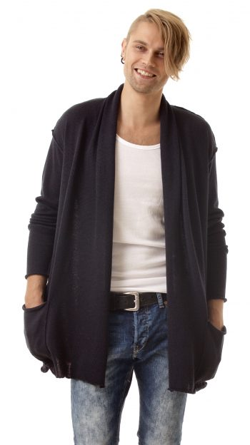 Navy wrap mens cardigan AXEL