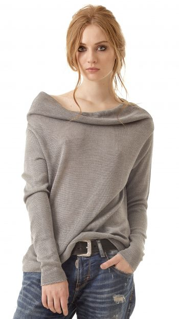 Grey cashmere womens off shoulder sweater pullover AGNES