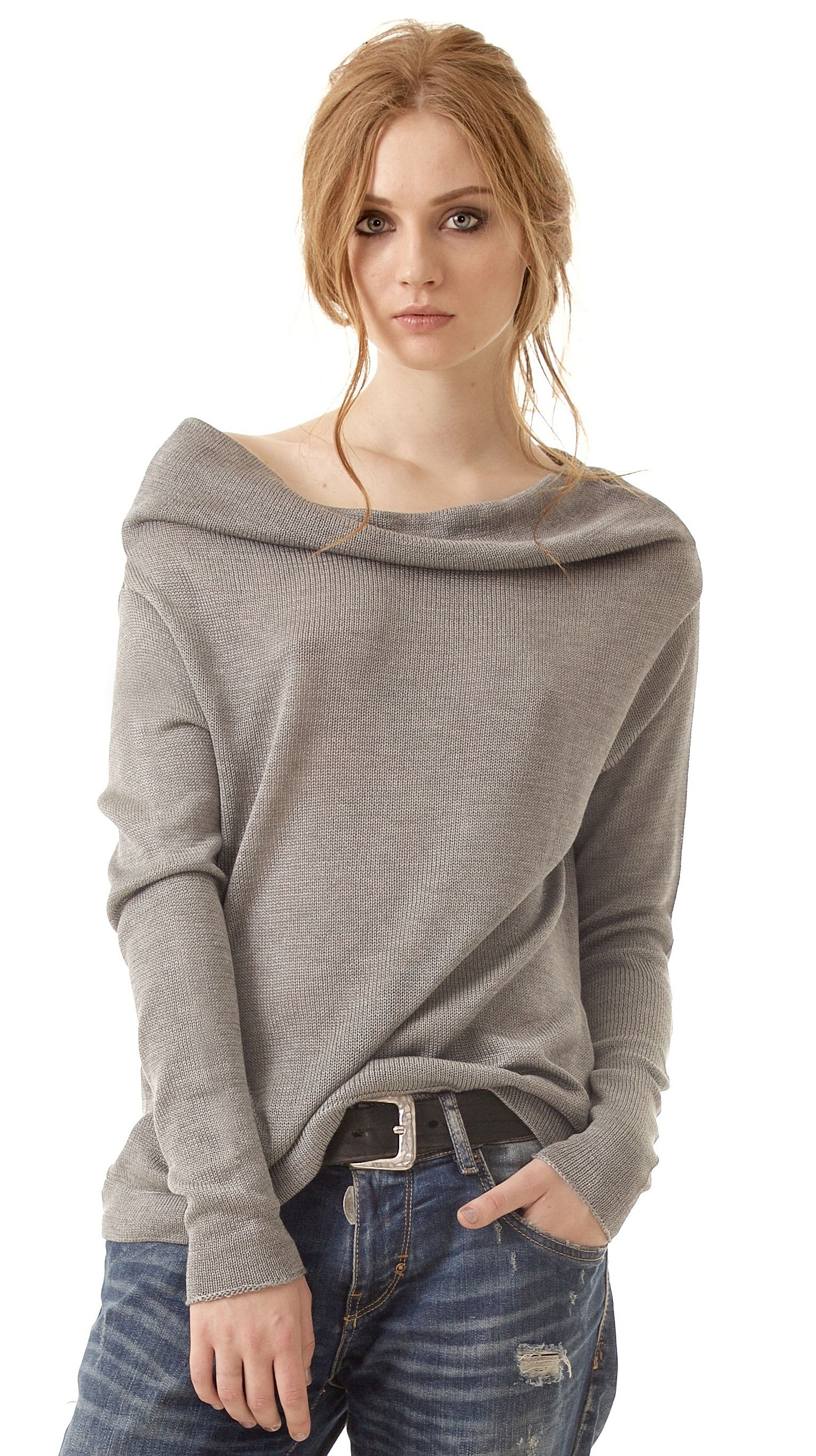 52a84213d4f Grey cashmere womens off shoulder sweater pullover AGNES