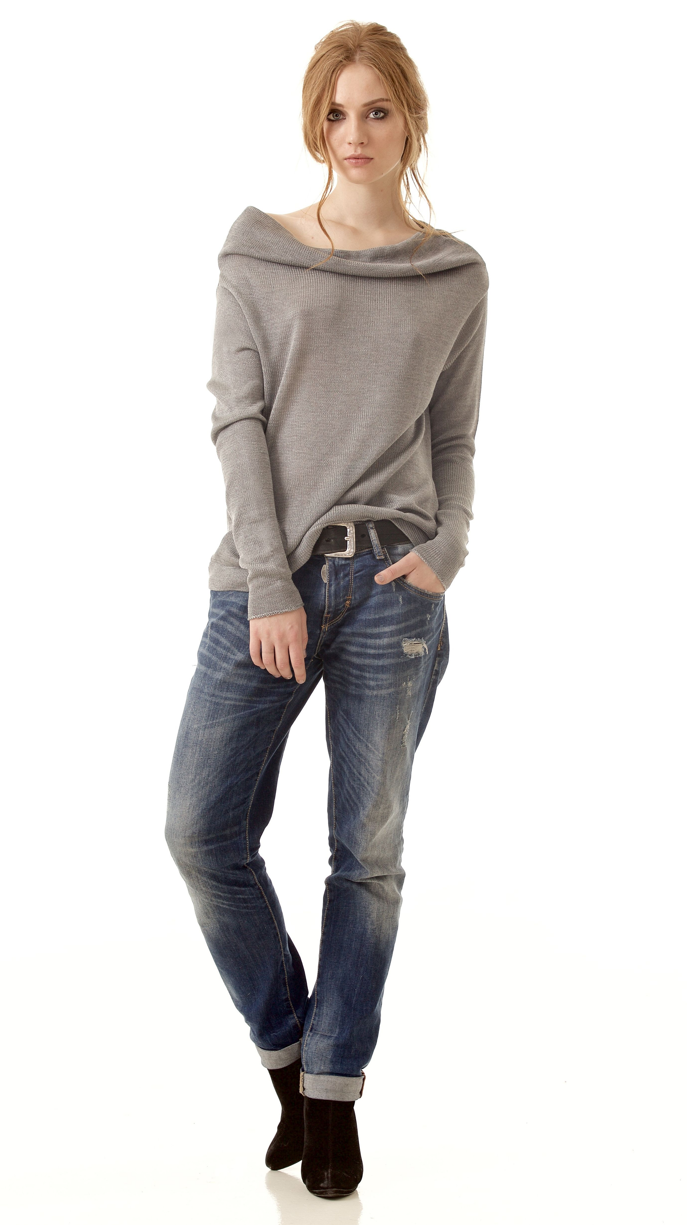 dfe3b94dce594 Grey cashmere womens off shoulder sweater pullover AGNES