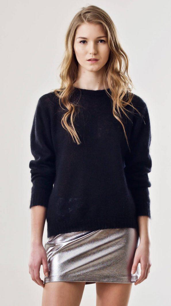 Black crew neck sweater ADELE