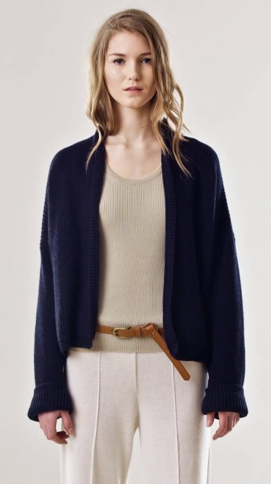 Open front chunky ribbed cardigan CHLOE