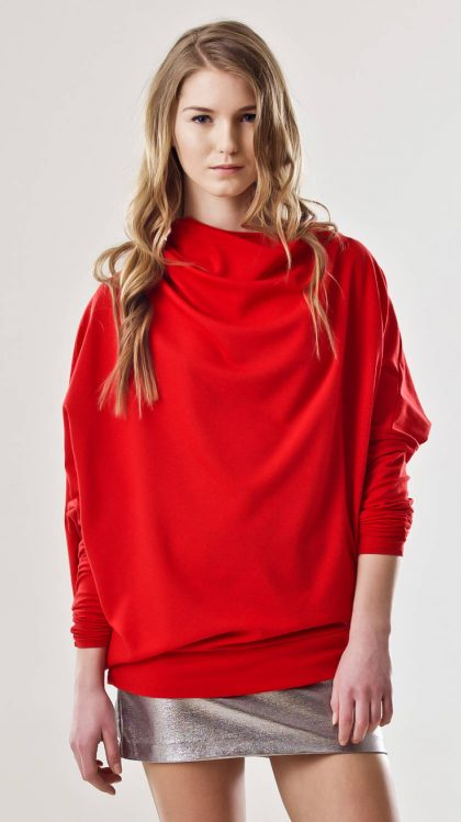 Asymmetric red oversized pullover jersey DELPHINE