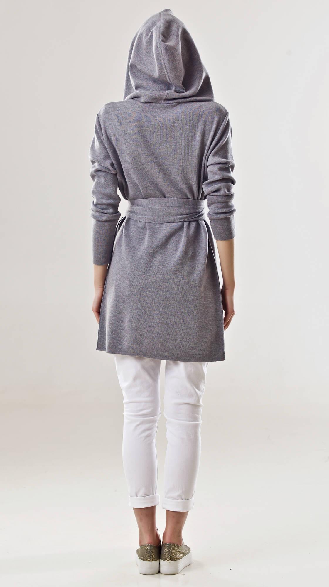 Grey wrap cardigan hoodie EMILIE G
