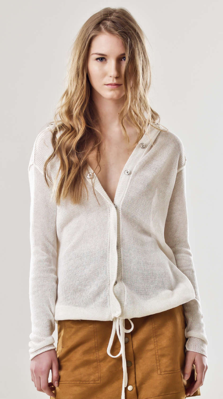 White linen cardigan hoodie MYLENE