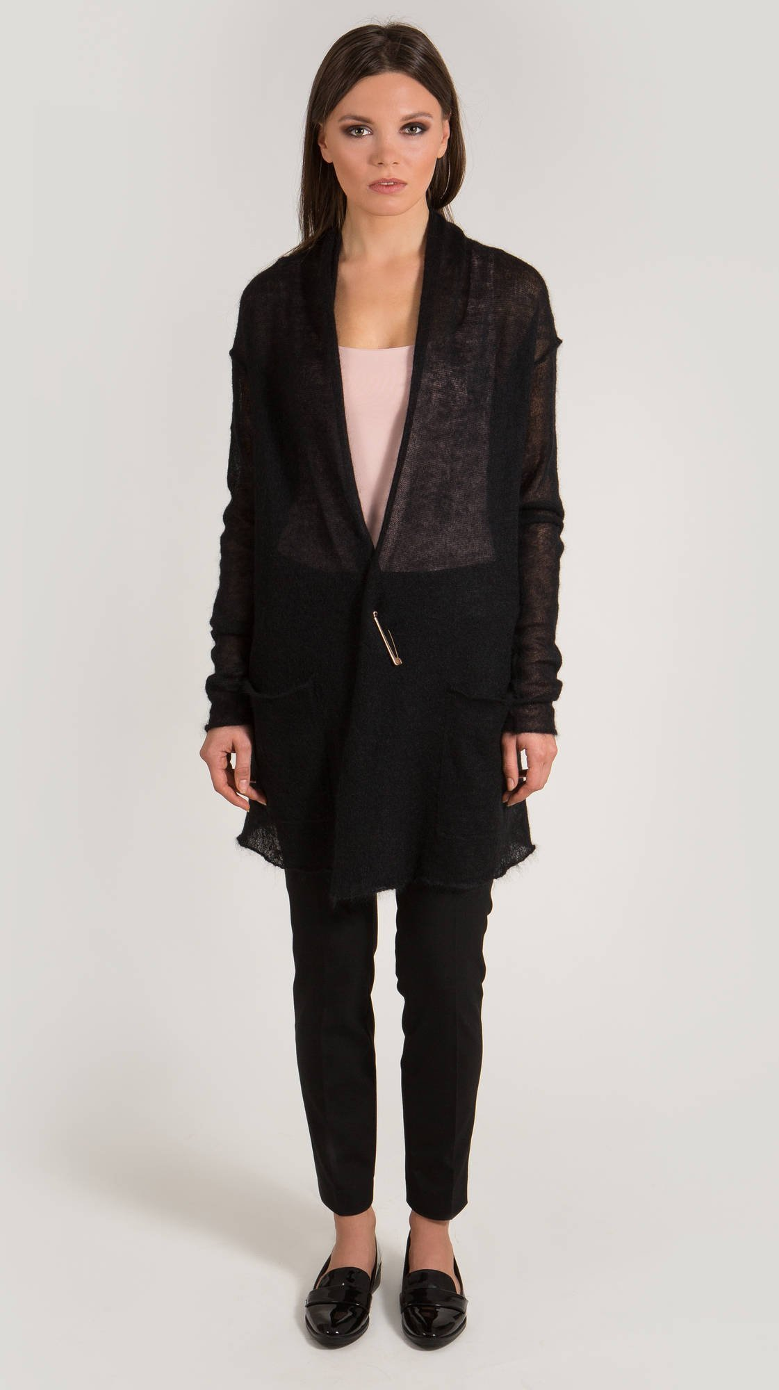Sheer long mohair cardigan ANABELLE