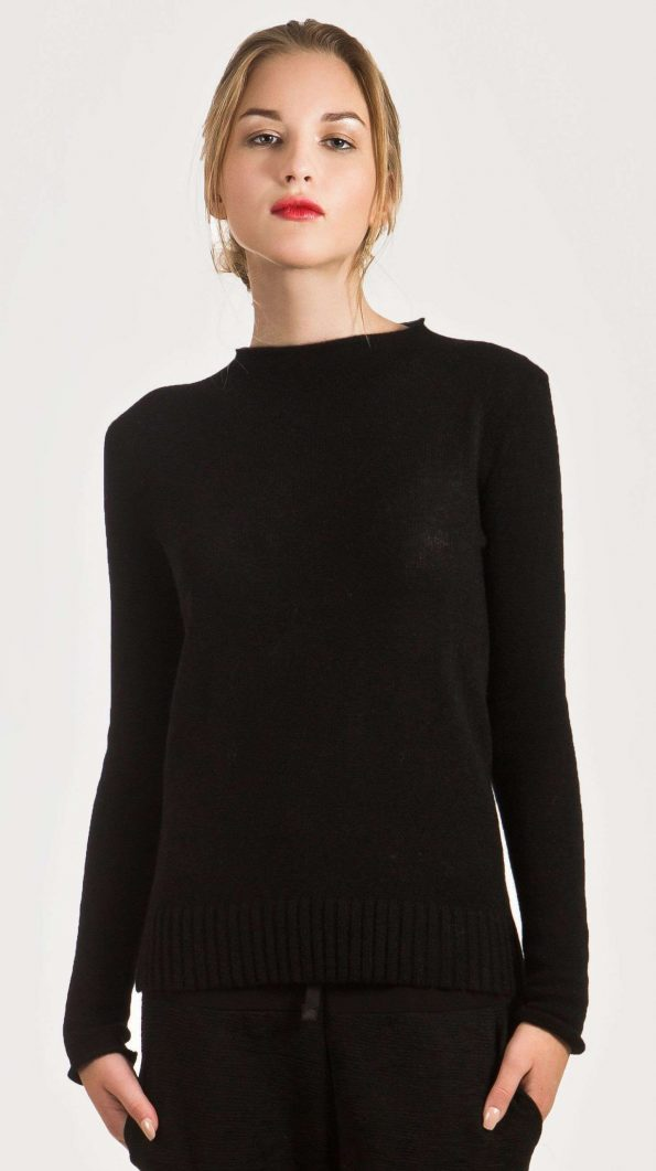 black cashmere crew neck sweater jumper womens