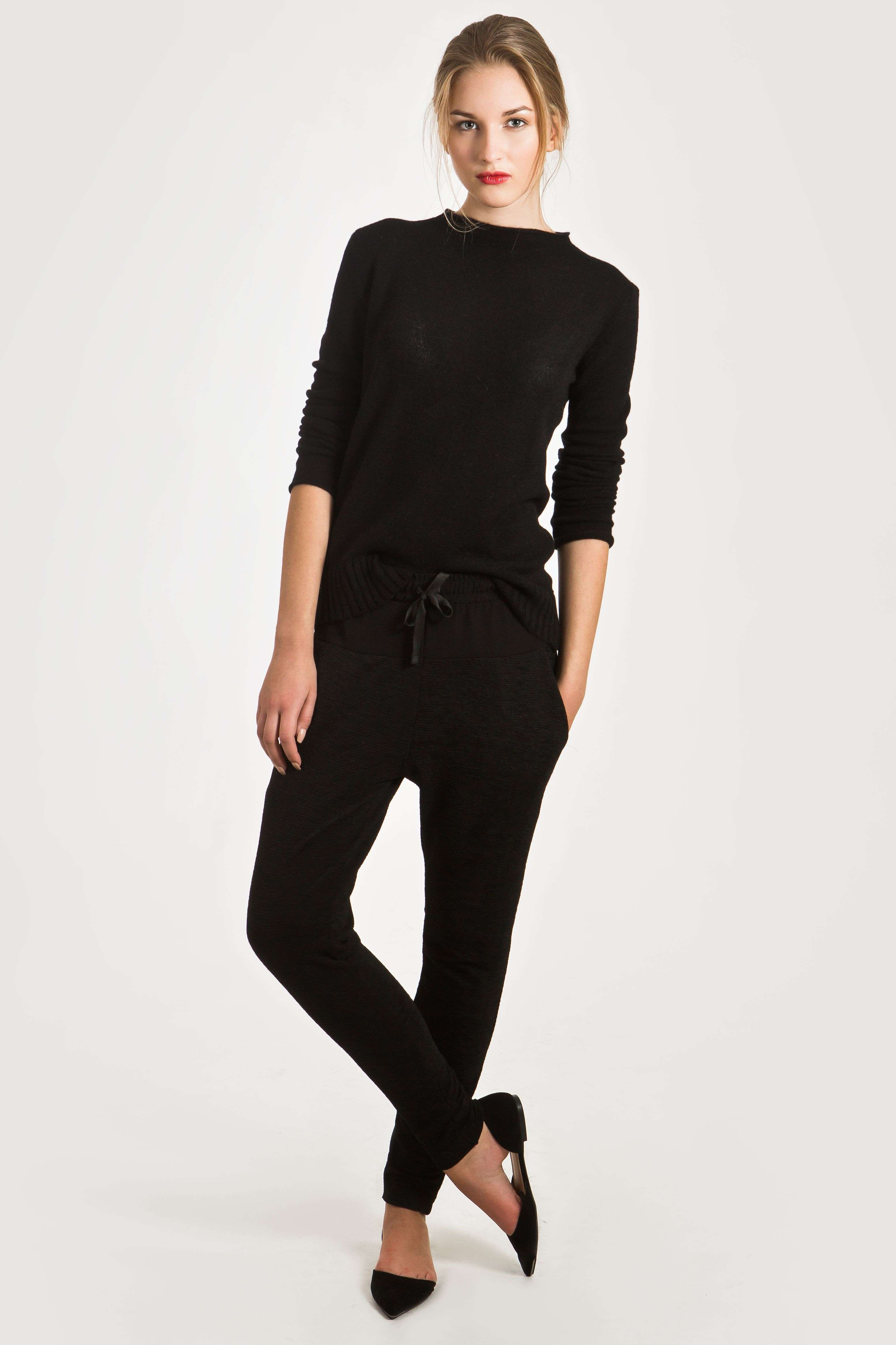2f5e4dfb5c36 Black cashmere crew neck womens sweater damen pullover ANNA