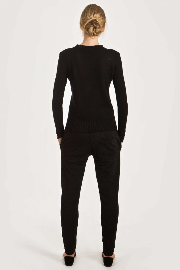 Black cashmere crew neck womens sweater damen pullover ANNA