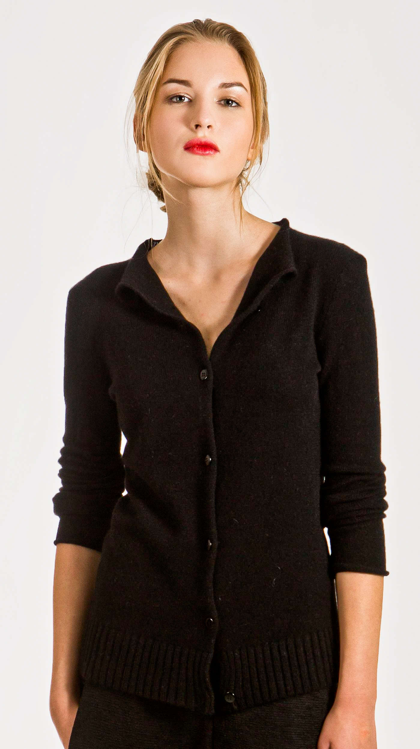 Black short cashmere cardigan HELEN