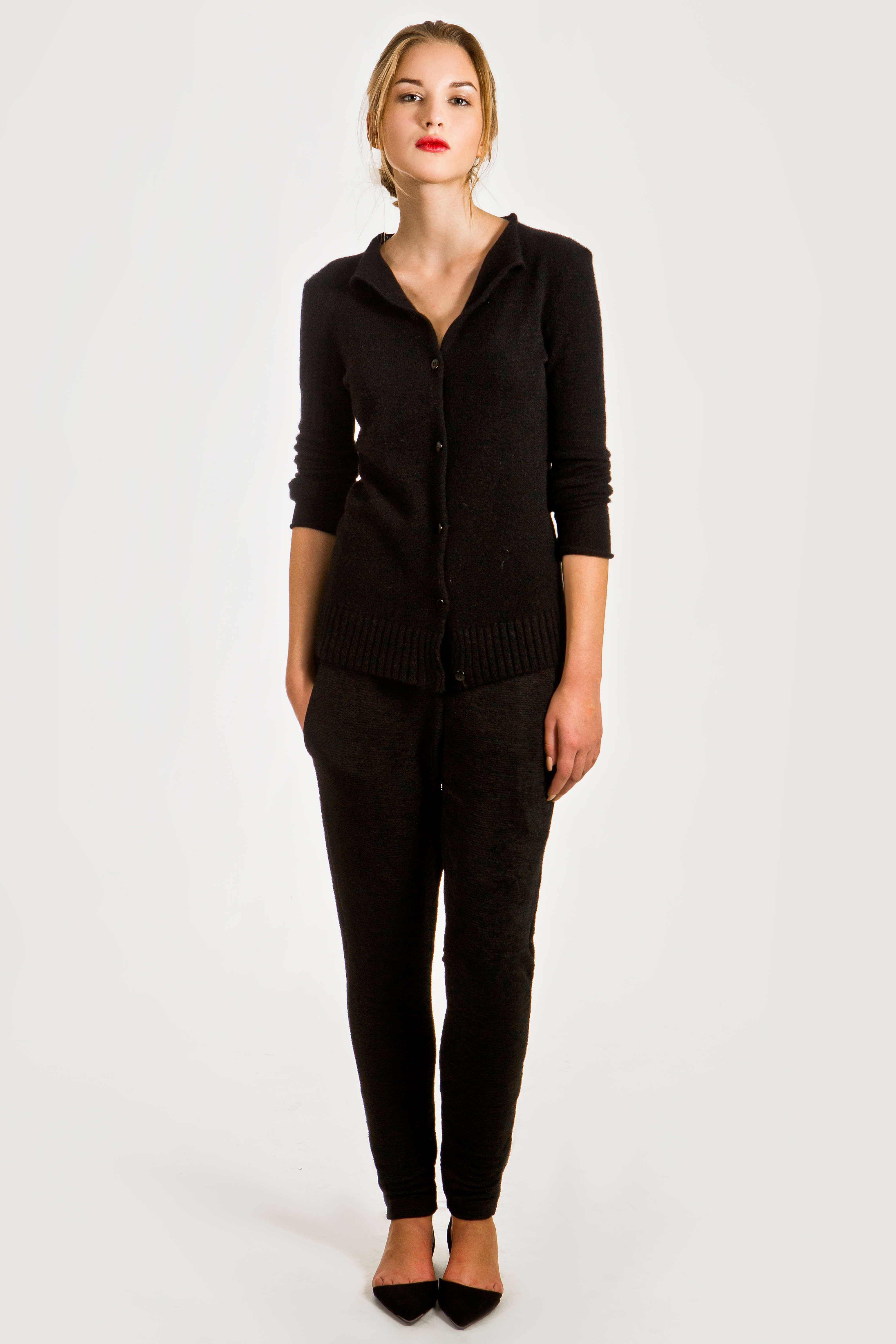 Black short cashmere cardigan HELEN - Krista Elsta