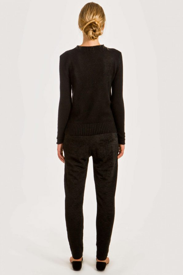 Black short cashmere cardigan damen strickjacke HELEN | Cashmere sweaters and cardigans by Krista Elsta Knitwear
