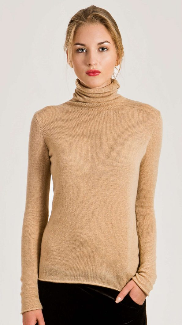 Camel cashmere turtleneck womens sweater damen pullover MARGO | Cashmere sweaters and cardigans by Krista Elsta Knitwear