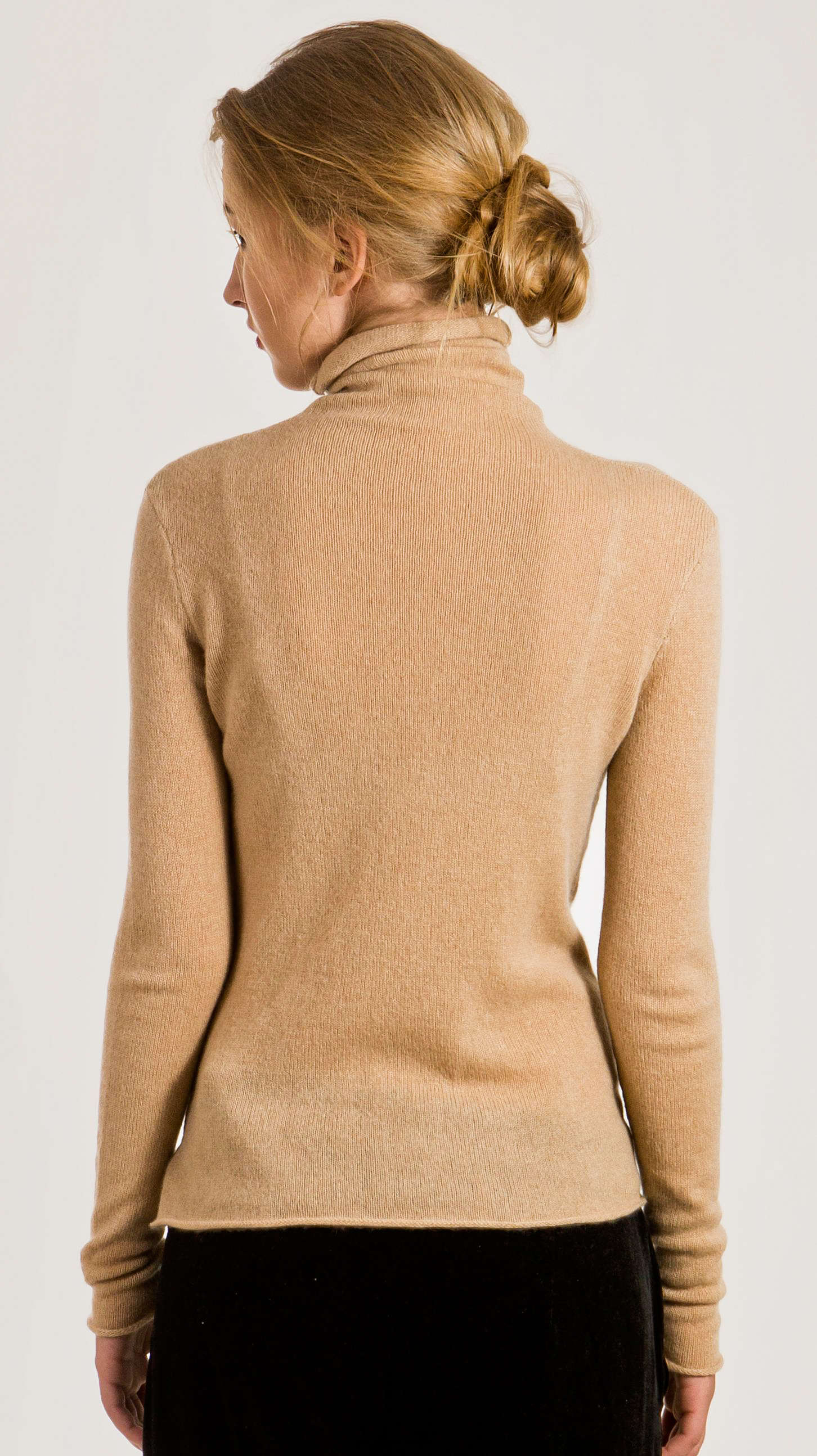 Women's camel cashmere turtleneck sweater MARGO