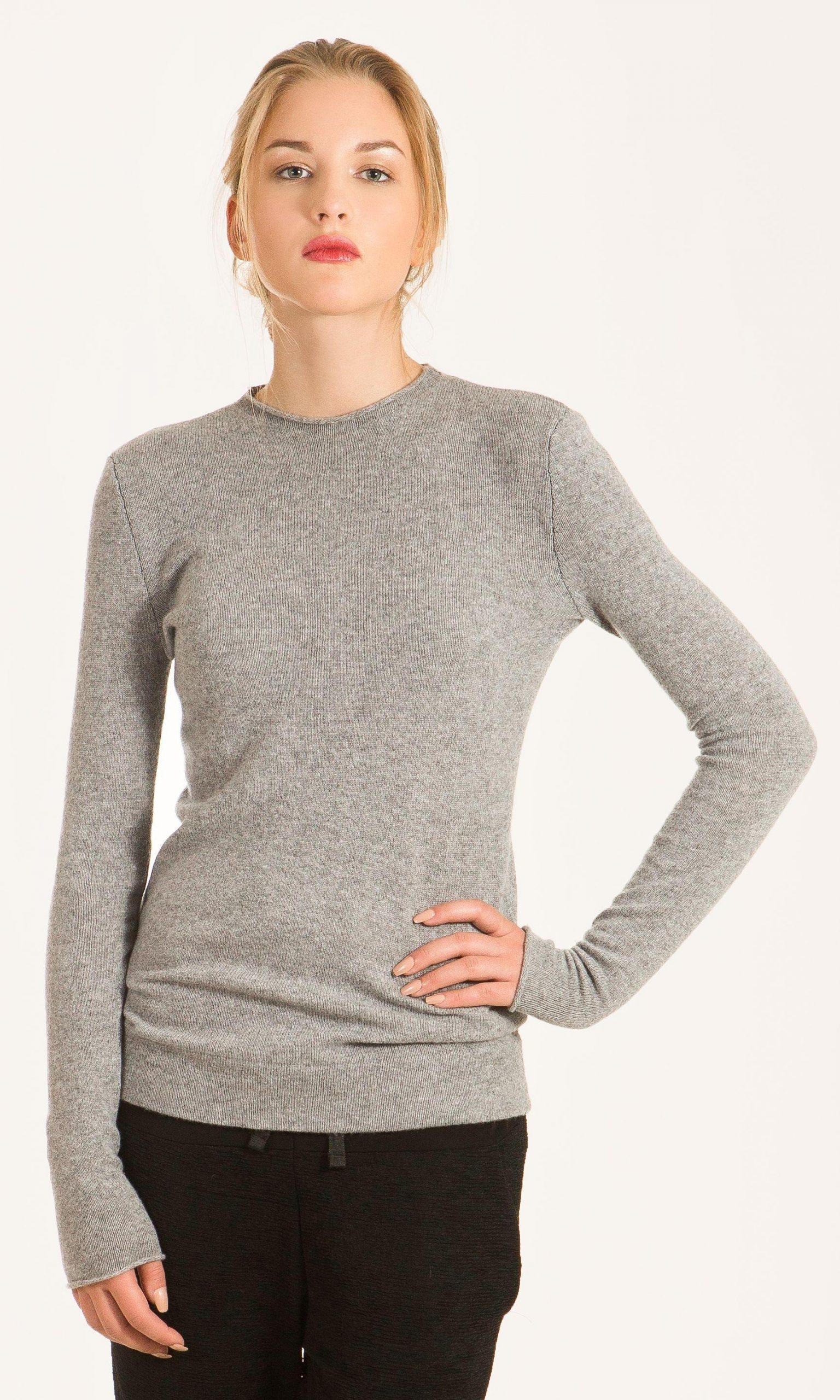 Grey cashmere crew neck sweater KAREN