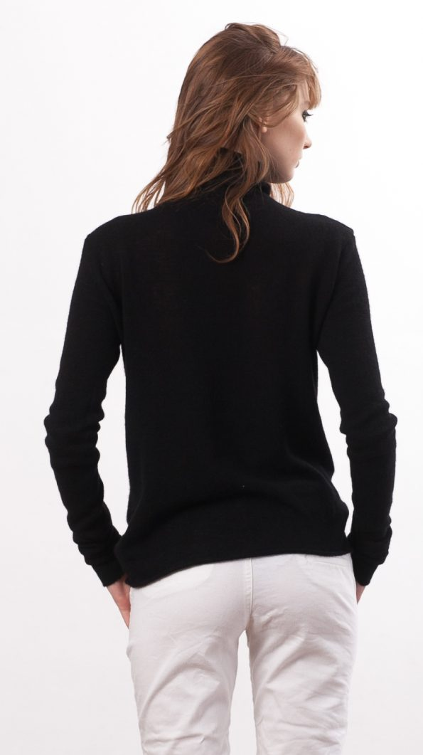 Black turtleneck cashmere sweater KATE