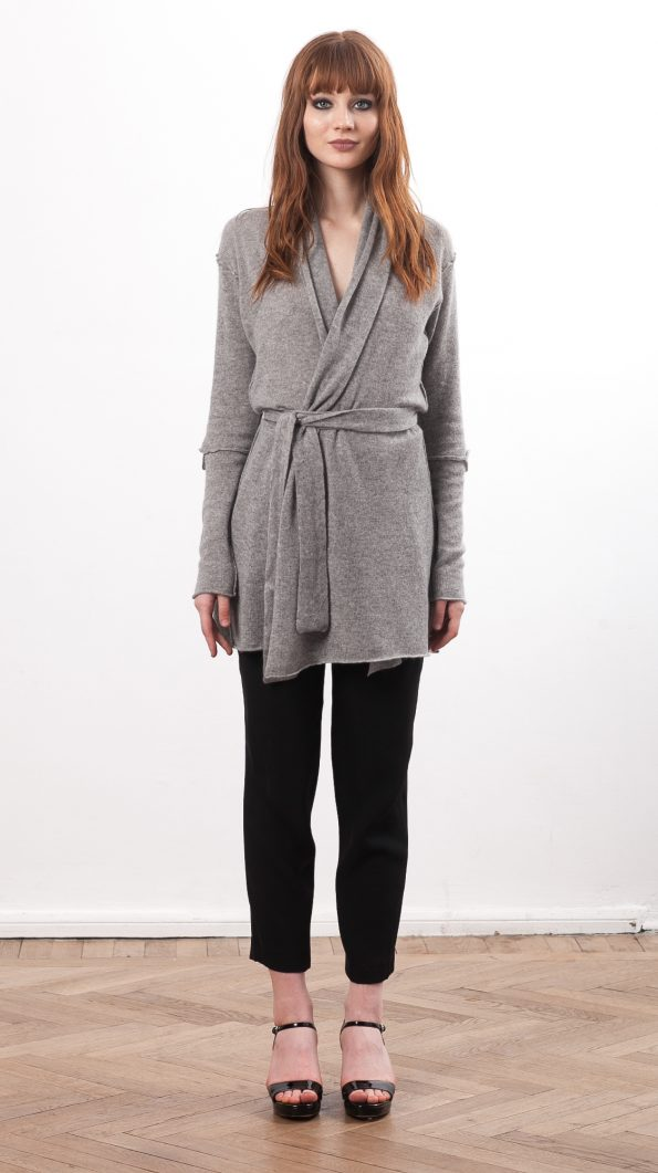 cashmere wrap cardigan long grey
