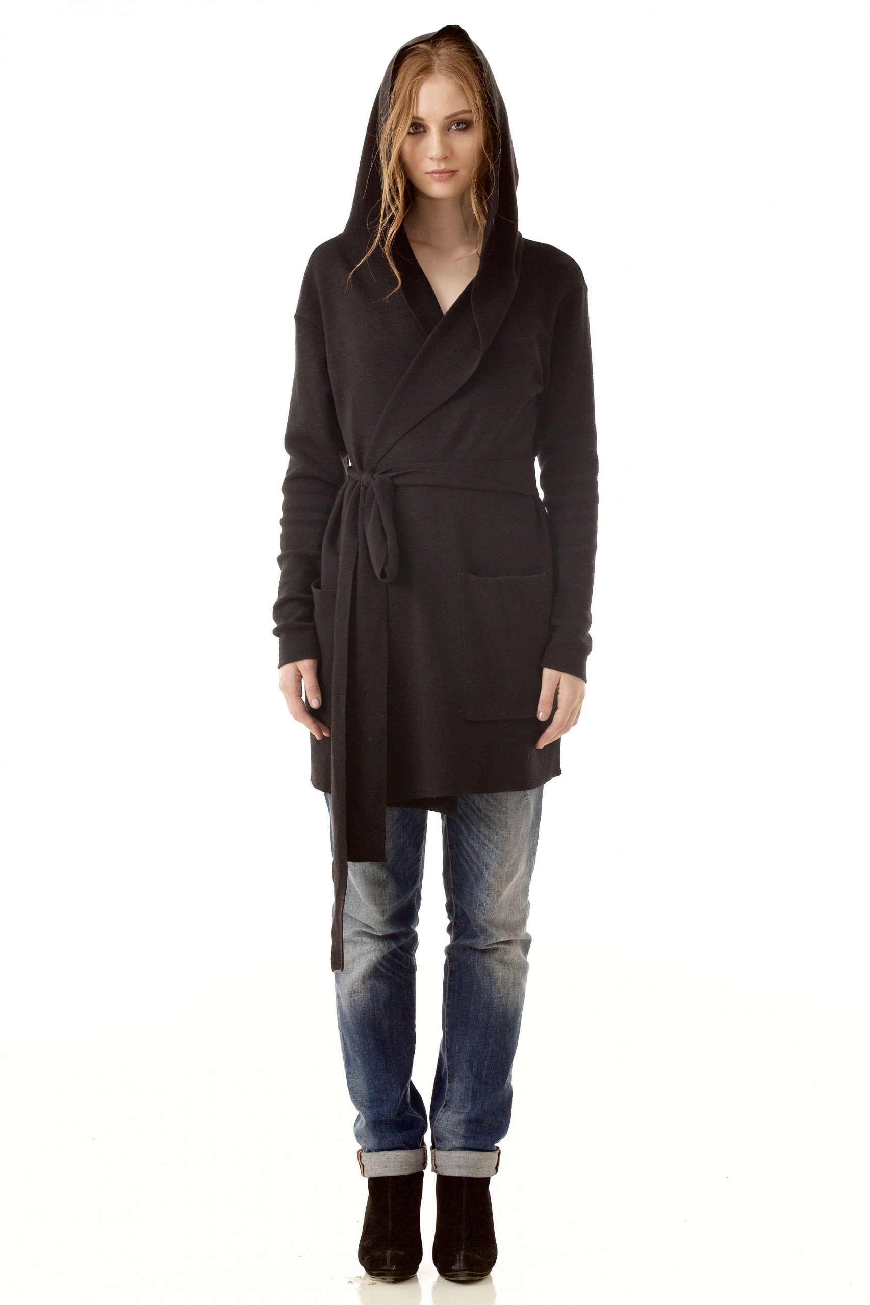 Black hooded wrap cardigan EMILIE B