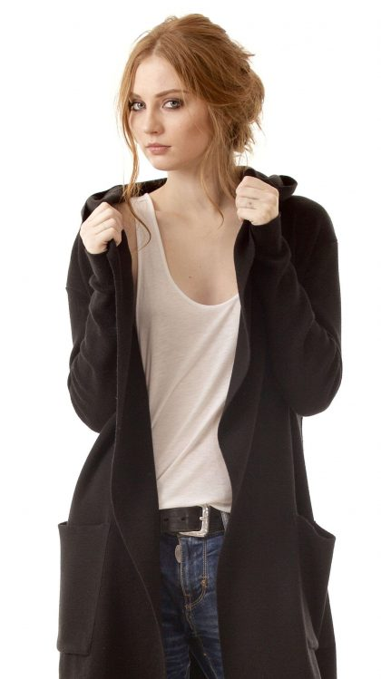 Black merino wrap open front hooded womens cardigan damen strickjacke EMILIE B