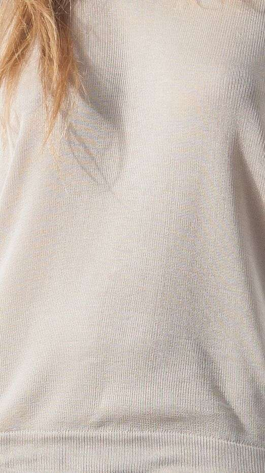 Beige v neck silk womens sweater damen pullover MIA