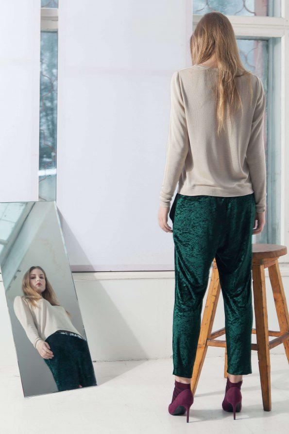 Beige v neck silk womens sweater damen pullover MIA
