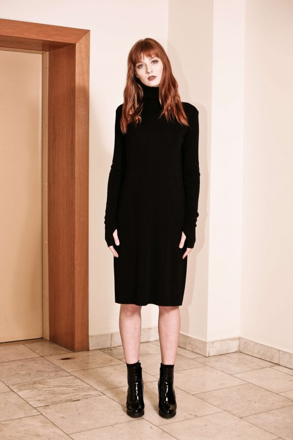 Black merino turtleneck knee length dress JANET