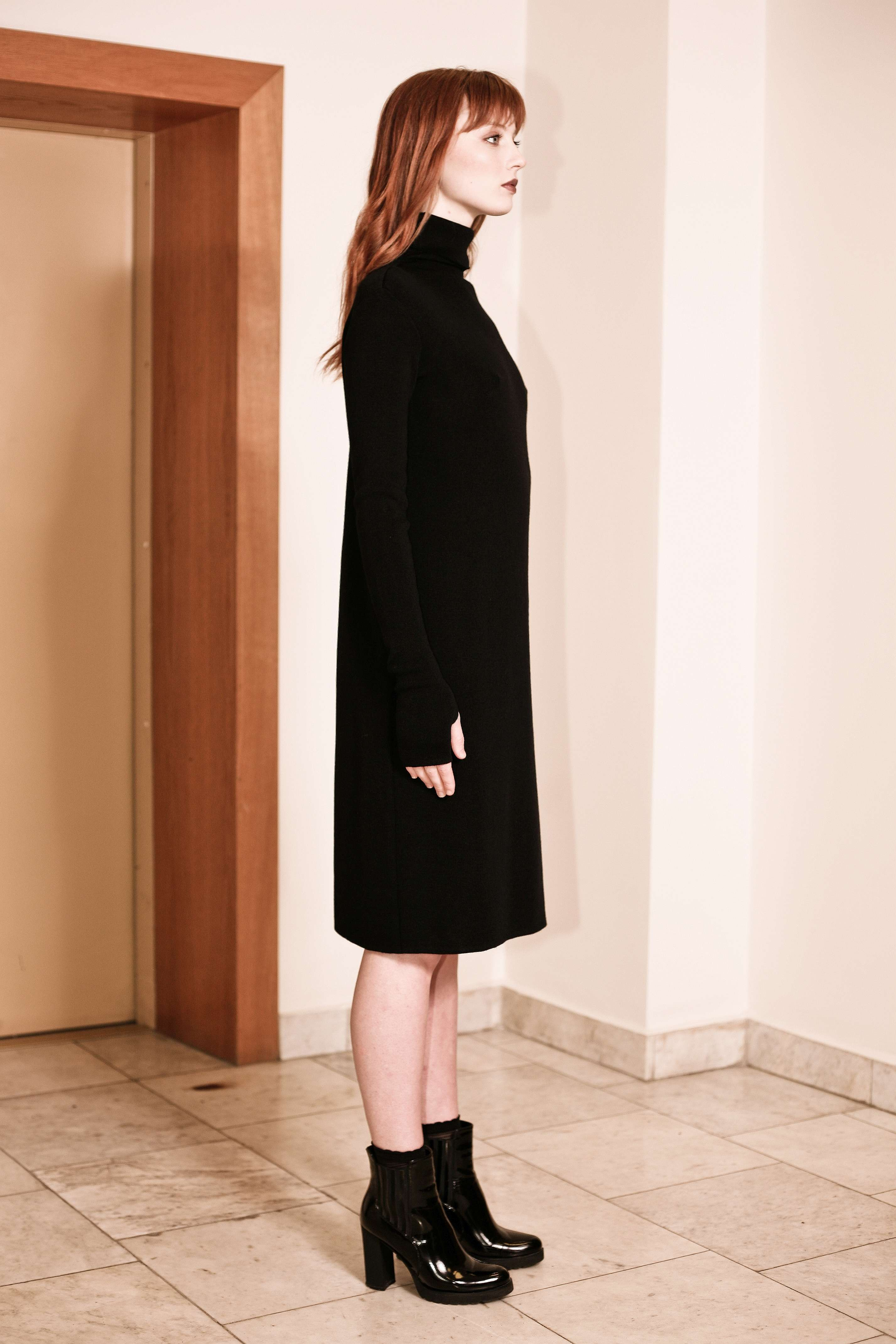 fbaef32d8f23 Black merino turtleneck knee length dress JANET