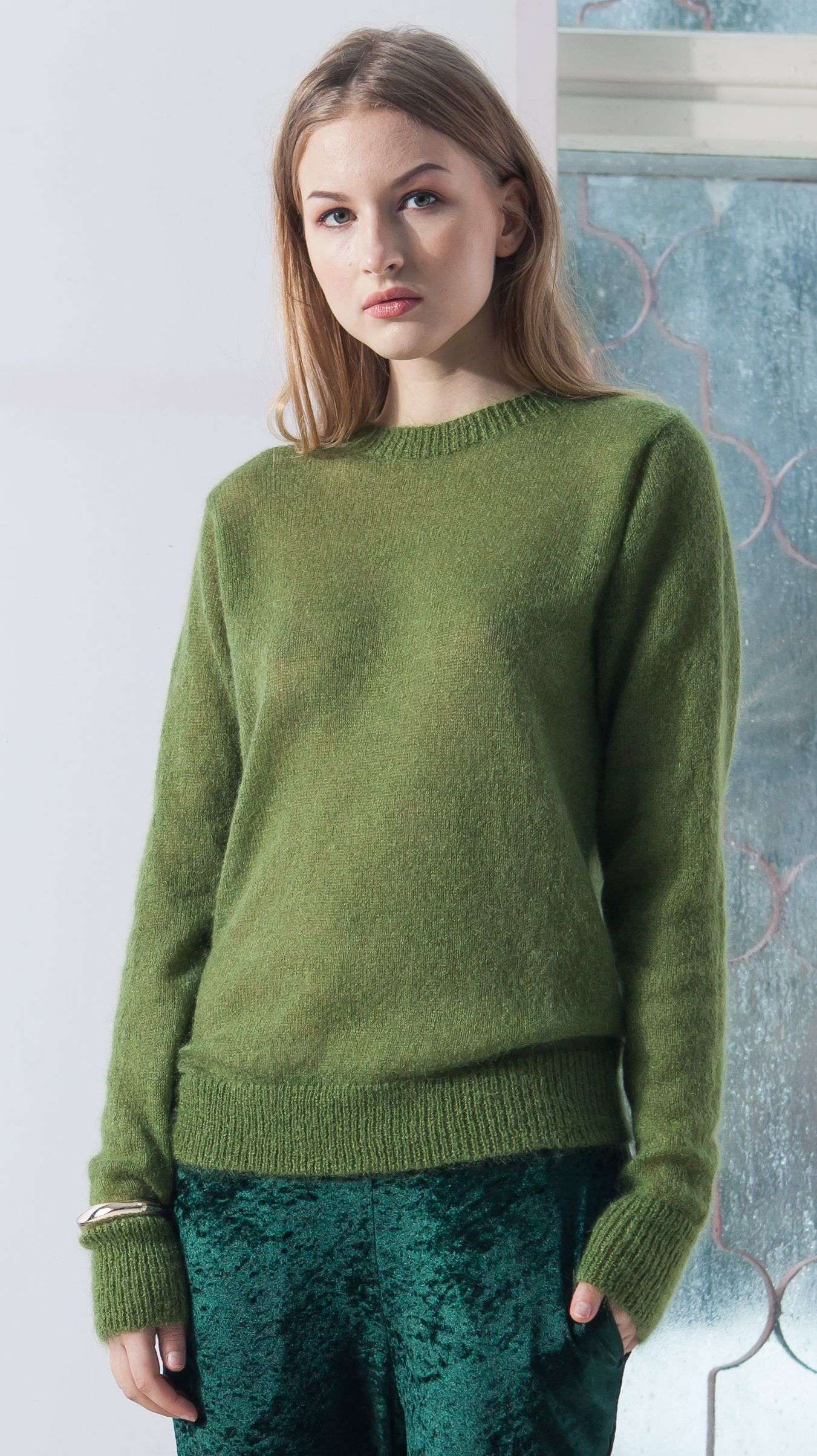 low priced 88795 35efe Green mohair crew neck sweater ADELE GREEN