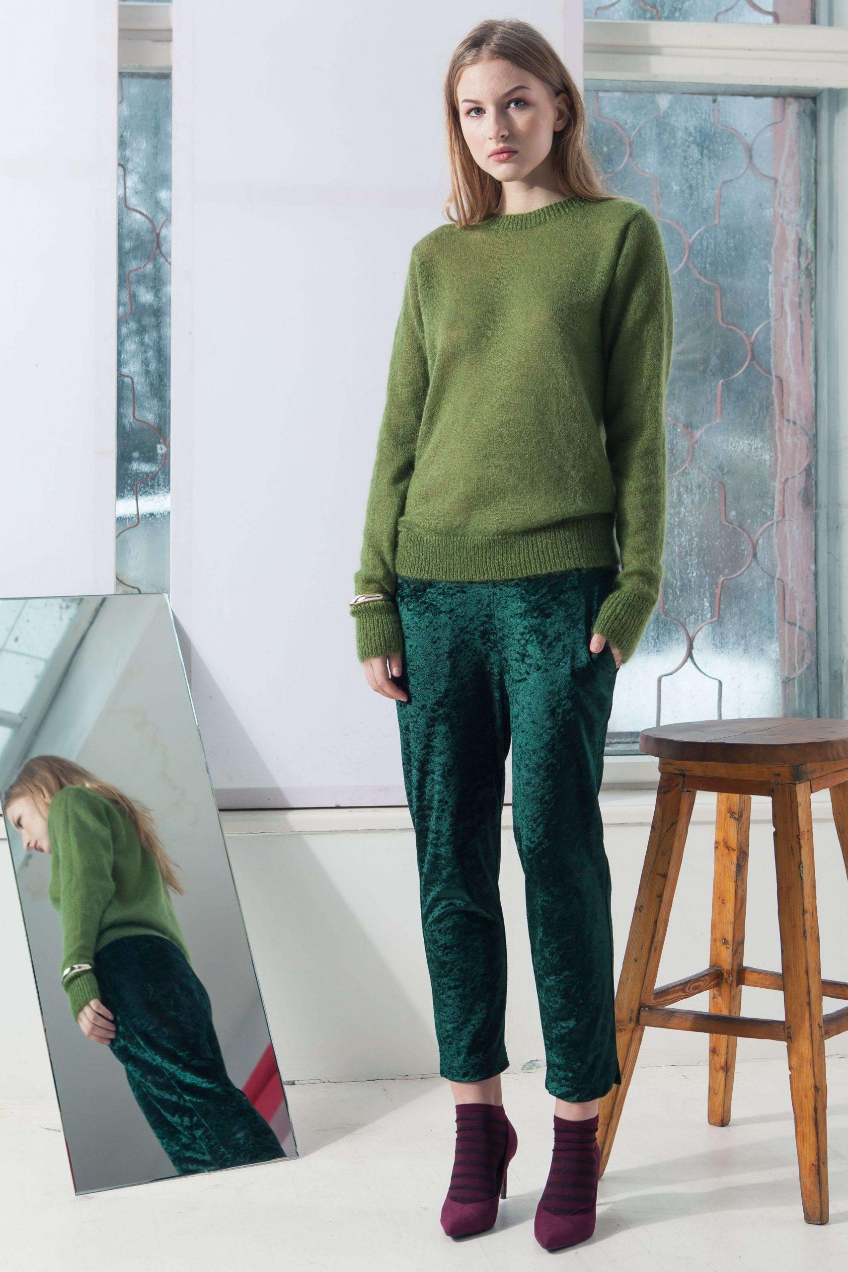 damen pullover green mohair crew neck sweater adele green krista elsta  green mohair crew neck sweater adele