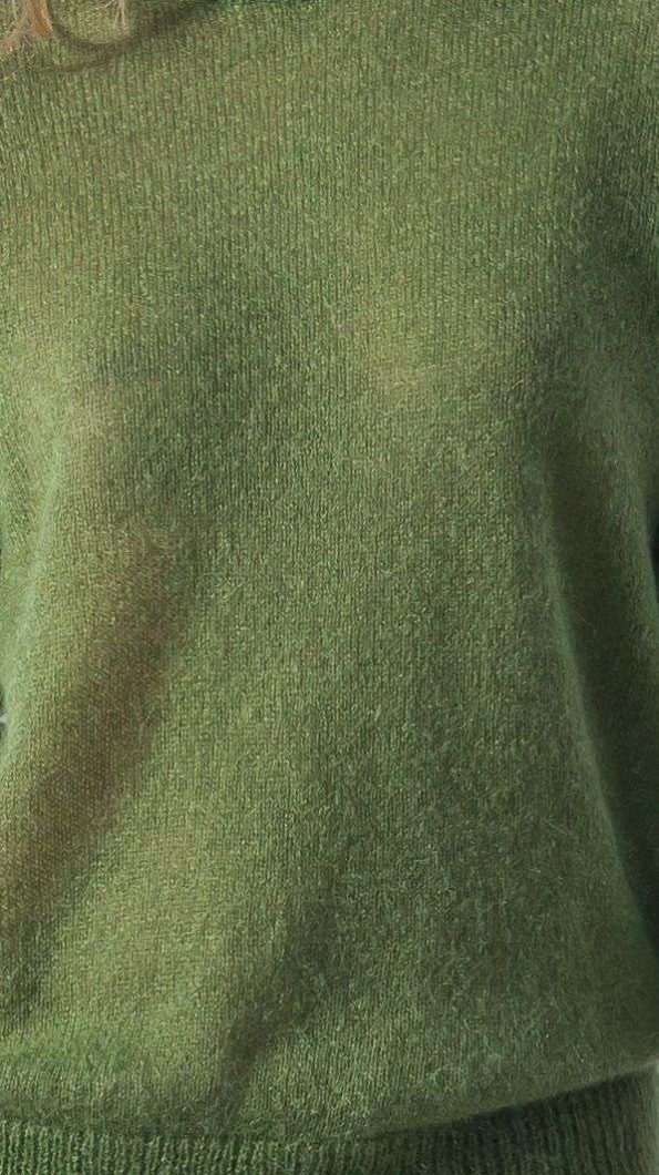 Green mohair crew neck womens sweater damen pullover ADELE GREEN