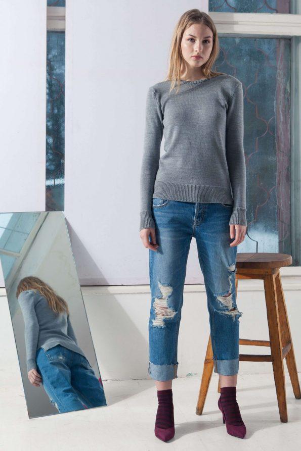 Grey merino crew neck womens sweater damen pullover TOY