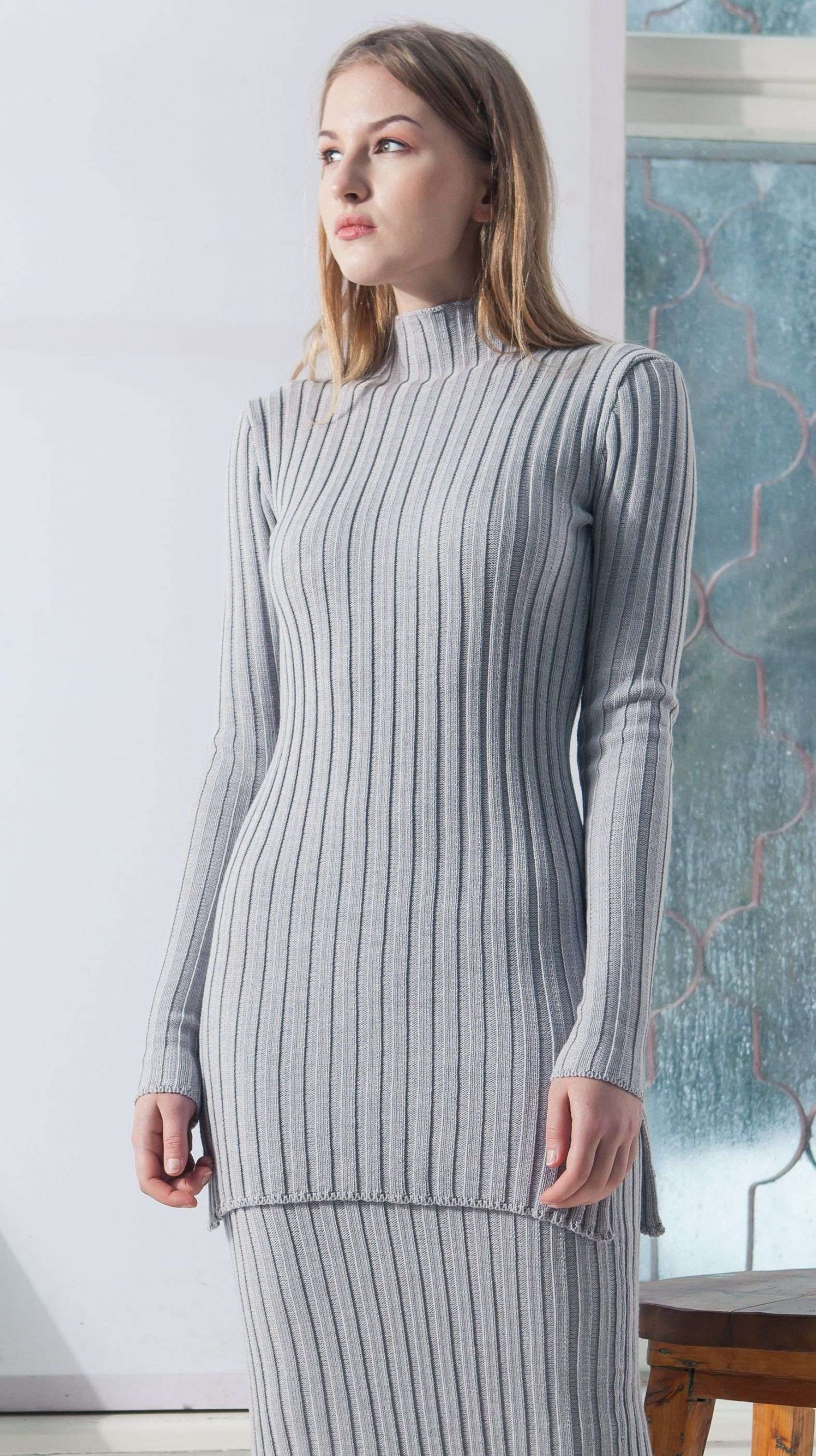 damen pullover grey ribbed pullover and skirt duffy krista elsta  grey ribbed pullover and skirt duffy