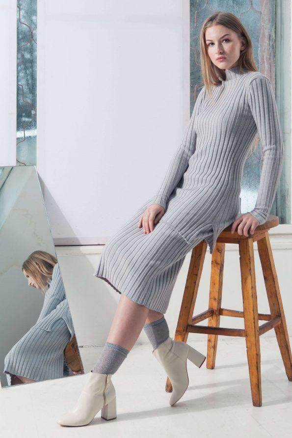 Grey merino ribbed womens sweater damen pullover skirt DUFFY