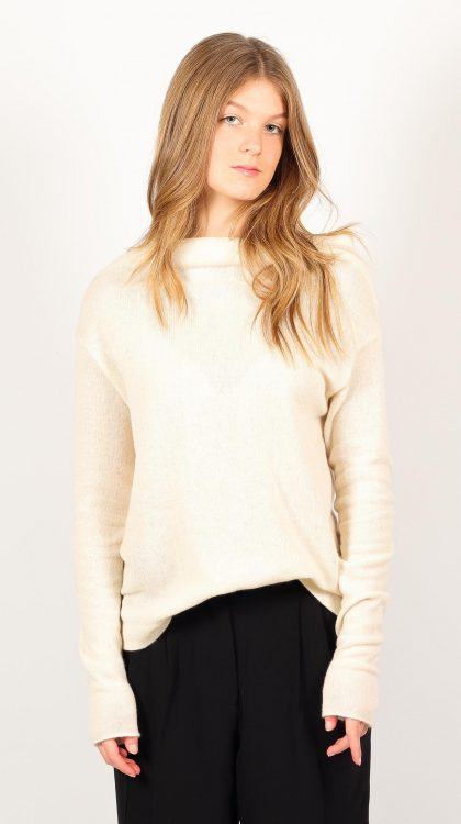 Knitted off white cashmere womens cowl neck off shoulder sweater pullover jumper AGNES