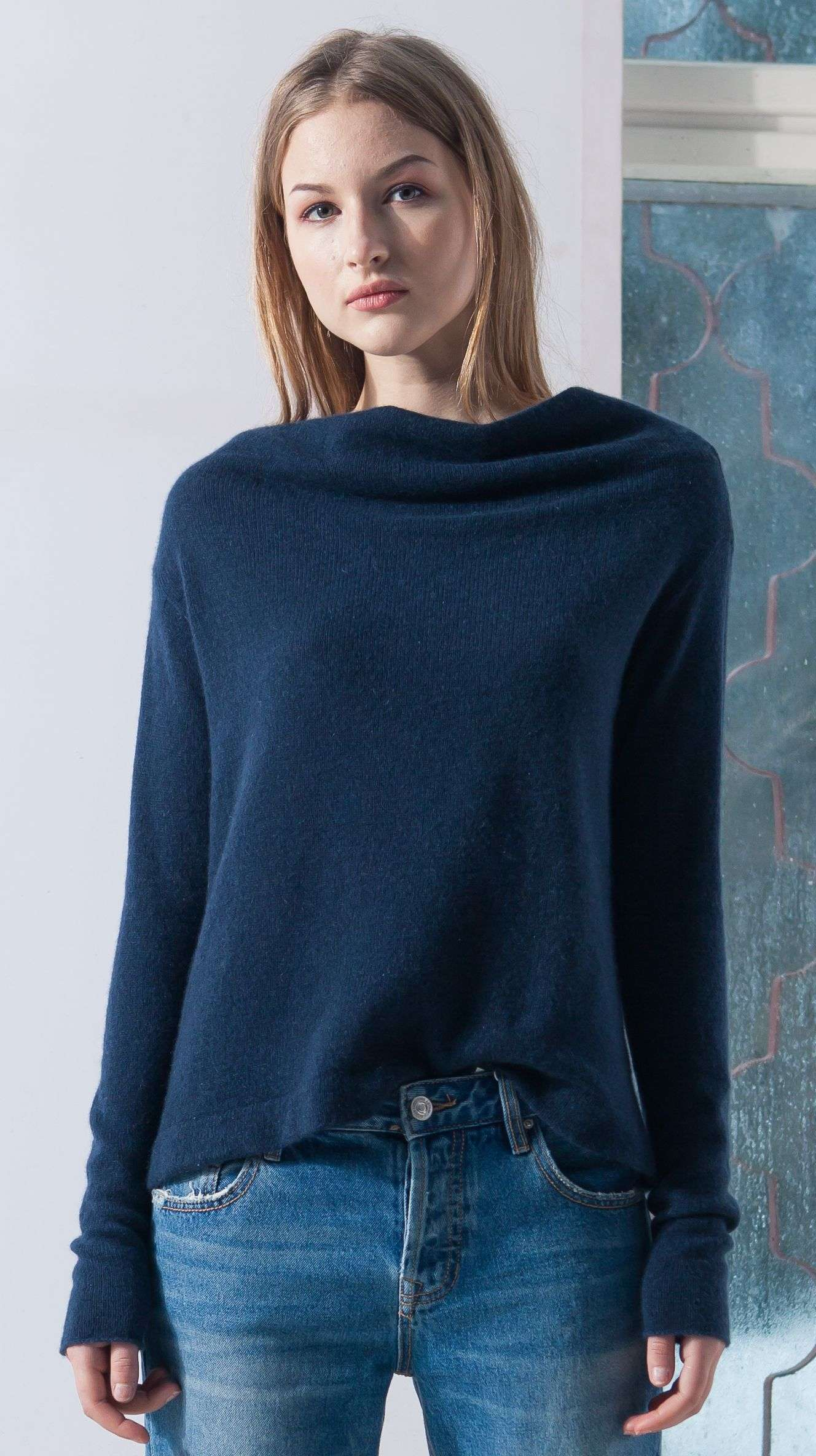 78b16c2901a Navy cashmere off shoulder womens sweater kaschmir damen pullover AGNES NAVY