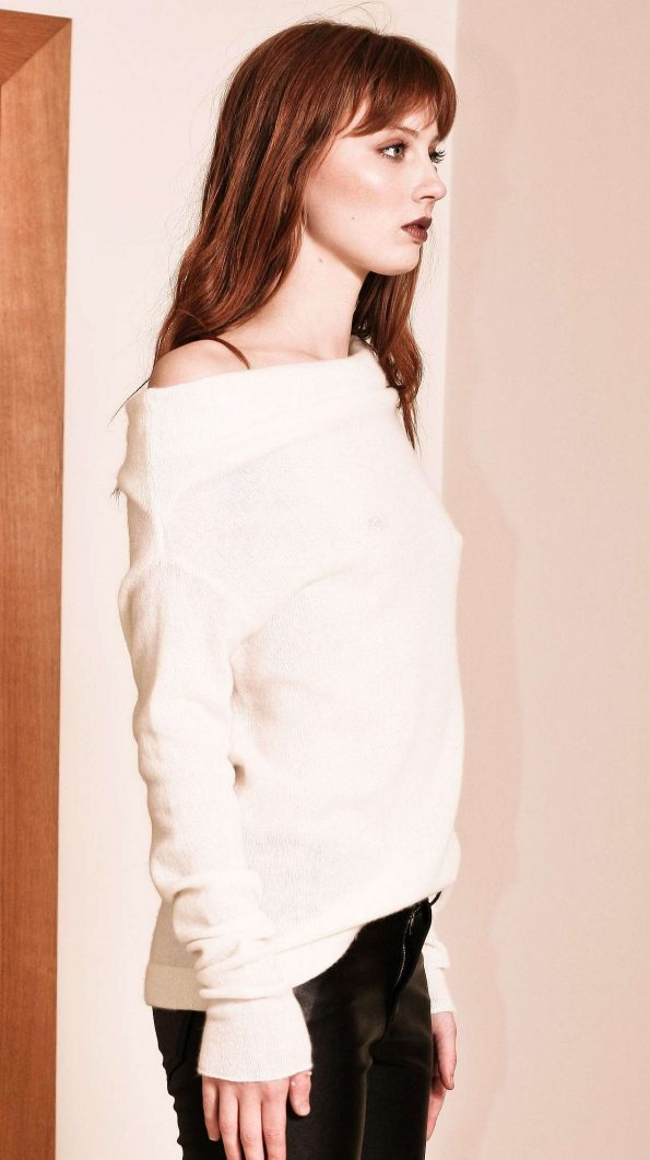 Off white cashmere off shoulder womens sweater damen pullover AGNES WHITE