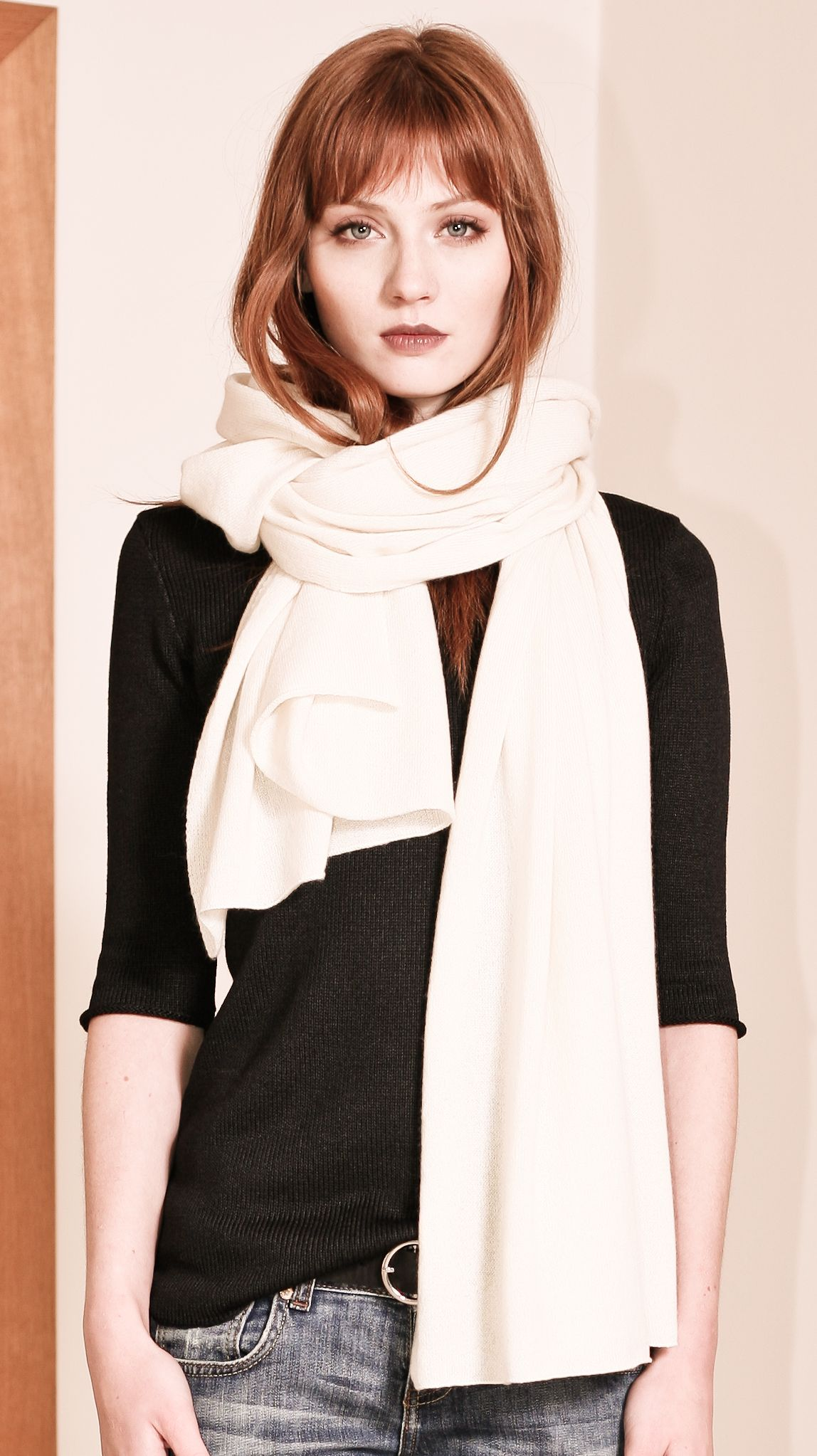 2897b90e6 Off white cashmere womens scarf travel wrap KIM WHITE