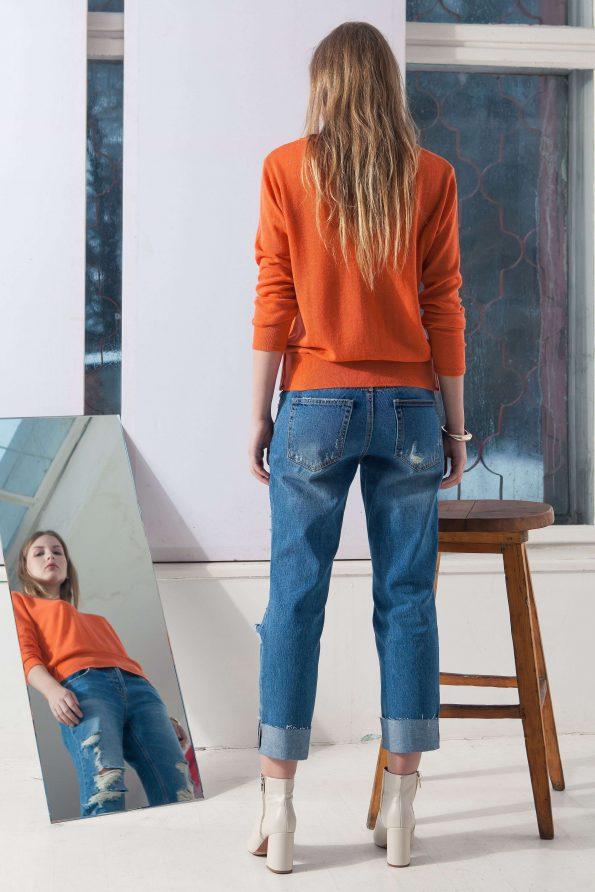 Orange alpaca blend crew neck womens damen pullover sweater CARO