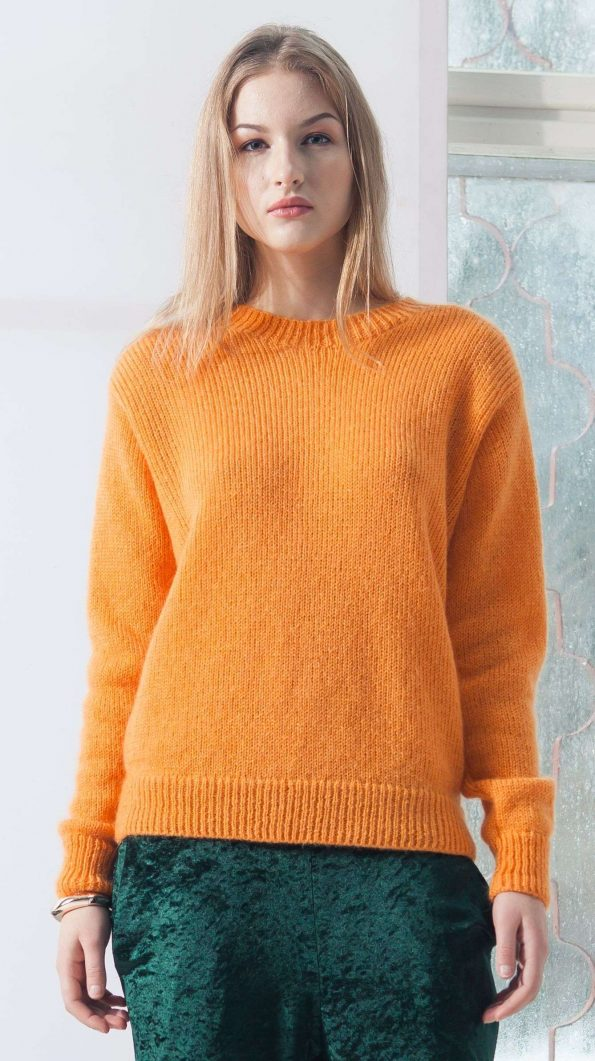 ORANGE MOHAIR BLEND CREW NECK SWEATER SUE